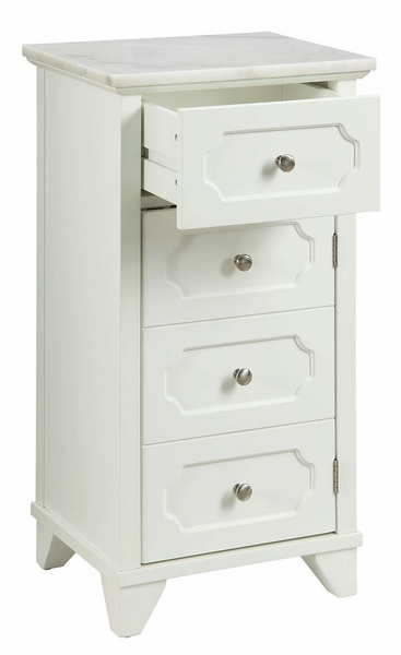 Shakeia White Wood/Marble Cabinet with 4 Drawers by Acme