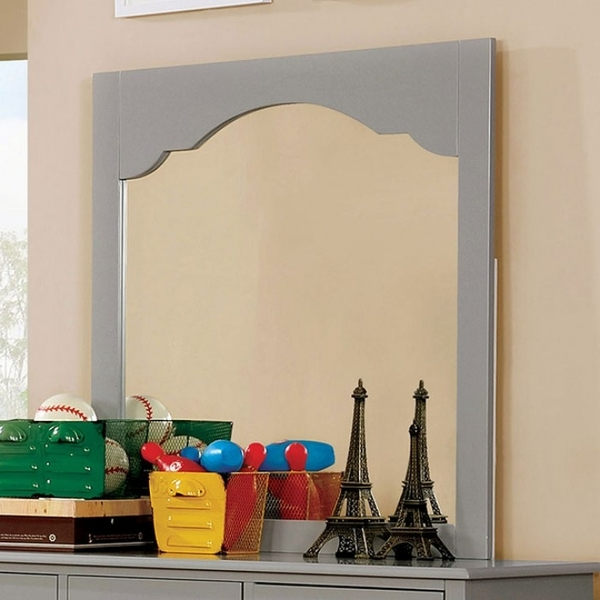 Diane Gray Glass/Solid Wood Frame Mirror by Furniture of America