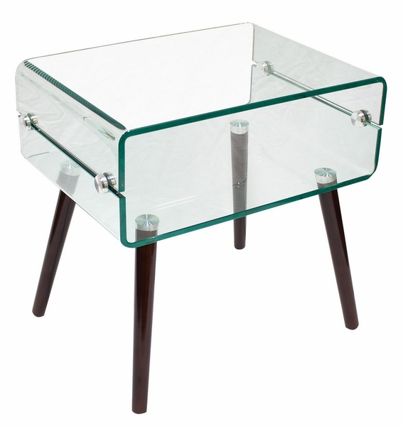 Benjamine Glass/Walnut Wood End Table by Best Master Furniture