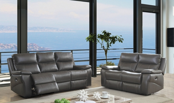 Lila Gray Power Recliner Loveseat by Furniture of America