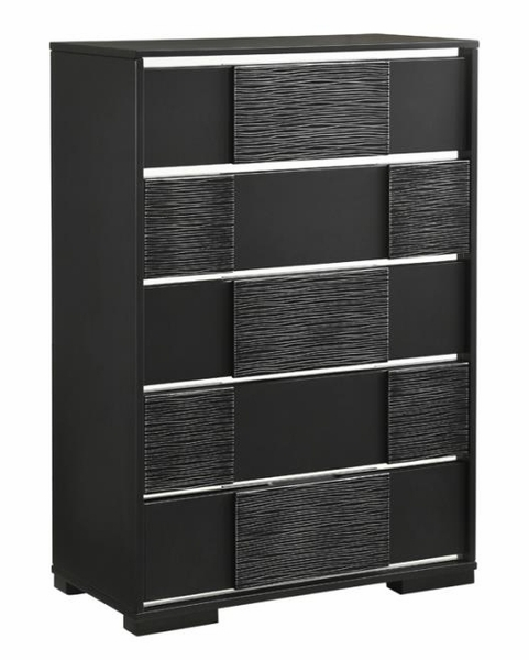 Blacktoft Contemporary Black Wood 5-Drawer Chest by Coaster