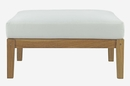 Bayport Natural Wood Patio Ottoman with White Fabric Cushion by Modway