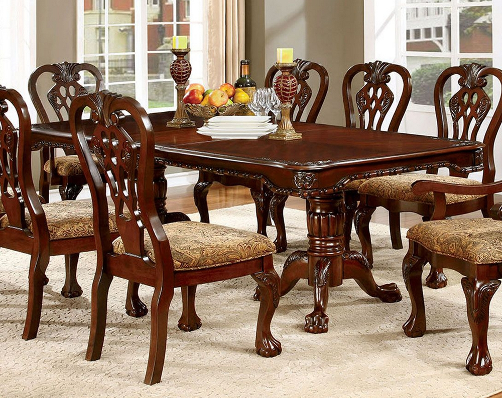 Elana Brown Cherry Wood Dining Table W, Cherry Wood Dining Room Sets