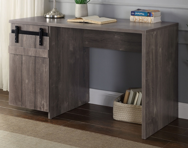 Bellarosa Gray Washed Wood Desk with Barn Door by Acme
