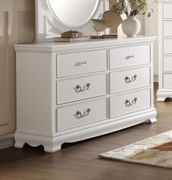 Lucida 6-Drawer Youth White Wood Dresser by Homelegance