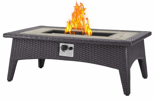 Splender Espresso Rectangular Patio Fire Pit Table by Modway