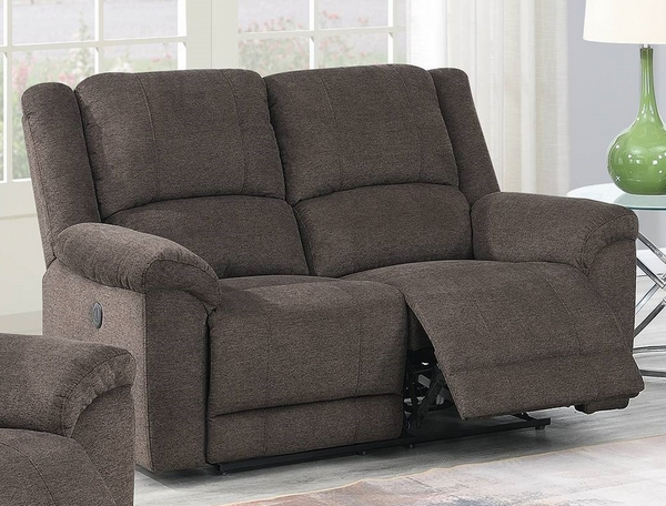 Candy Tan Velvet Fabric Power Recliner Loveseat with USB by Poundex