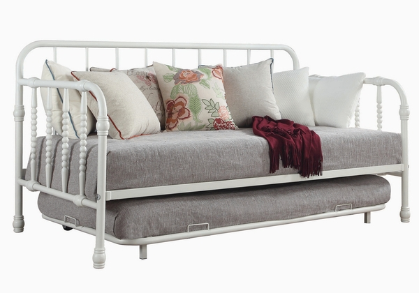 Wren White Metal Twin Daybed with Trundle by Coaster