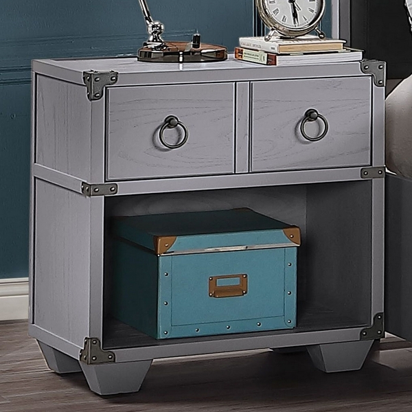 Orchest Gray Wood 1-Drawer Nightstand with USB Dock by Acme