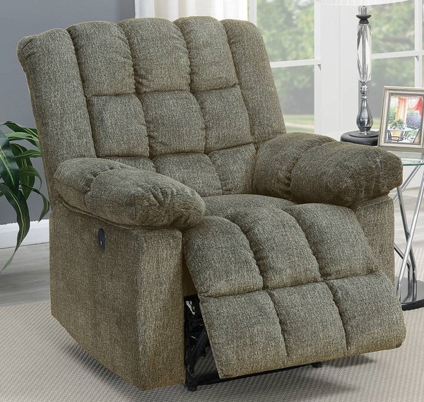 Elise Tan Chenille Tufted Power Recliner with USB by Poundex