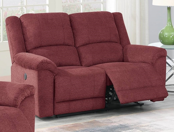Candy Paprika Red Velvet Fabric Power Recliner Loveseat by Poundex