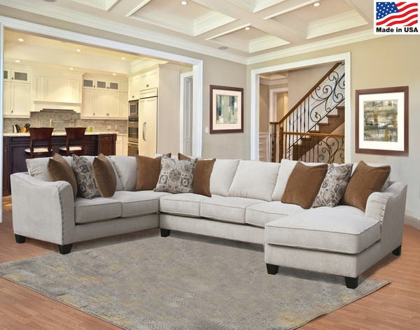 Adel 3-Pc Dynamo/Bone RAF Sectional (Oversized) by Comfort Industries