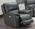 Marleen Slate Grey Top Grain Leather Match Power Recliner by Poundex