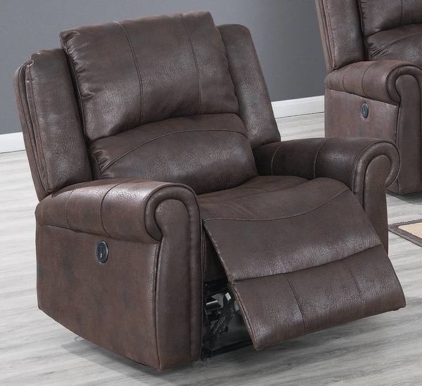 Sherilyn Dark Brown Leather-Like Fabric Power Recliner by Poundex