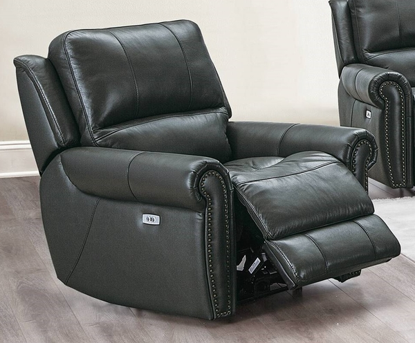 Livvy Slate Grey Top Grain Leather Match Power Recliner by Poundex