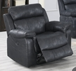Hannah Black Leather-Like Fabric Power Recliner by Poundex