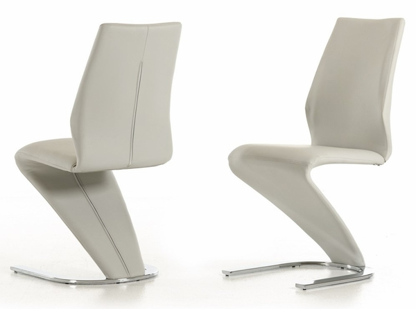 Modrest Penn 2 Light Grey Leatherette Side Chairs by VIG Furniture