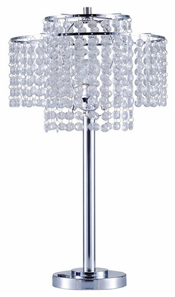 Kaitlyn Chrome Metal Table Lamp w/Crystals by Furniture of America