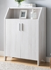 Emmie White Oak Wood Shoe Cabinet with 5 Shelves by ID USA