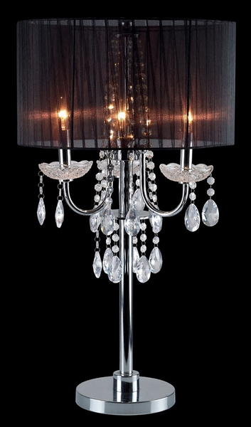 Jada Black Table Lamp w/Hanging Crystals by Furniture of America