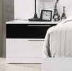 Bahamas White/Black Lacquer Wood Nightstand by Best Master Furniture