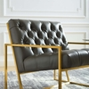 Bequest Gray Antique Faux Leather Button Tufted Accent Chair by Modway