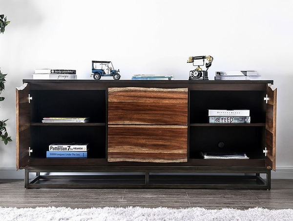 Fulton Dark Oak Wood Media Chest with Drawers by Furniture of America