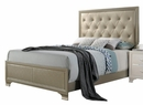 Carine Champagne Faux Leather/Wood Queen Panel Bed by Acme