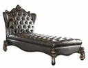 Versailles Silver PU Leather/Antique Platinum Wood Chaise by Acme