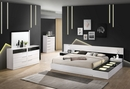 Bahamas White/Black Wood King Bed with LED by Best Master Furniture