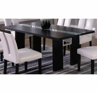 Justine Black Wood Glass Dining Table W Led By Best Master Furniture