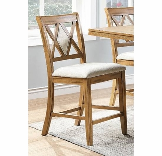 Jayme 2 Tan Fabric Light Brown Wood Counter Hight Chairs By Poundex
