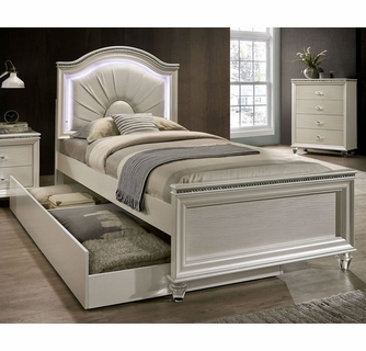 Allie Pearl White Wood Twin Bed With Trundle By Furniture Of America