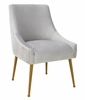 Beatrix Pleated Light Grey Velvet/Gold Metal Side Chair by TOV Furniture