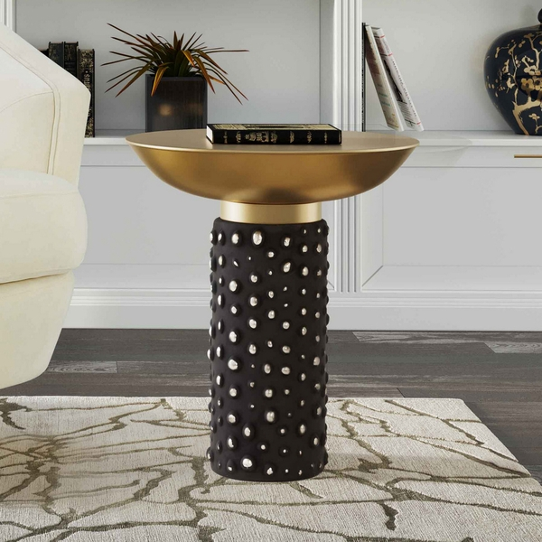 Blaze Antique Brass Iron/Black Glass Side Table by TOV Furniture