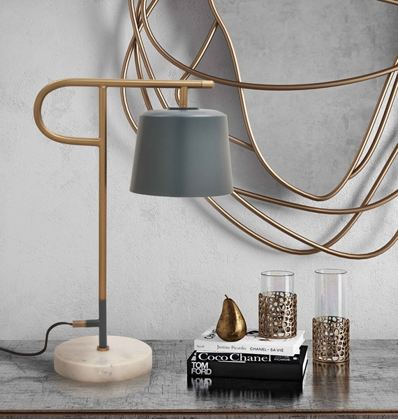 Babel Ocean Grey/White Marble Table Lamp by TOV Furniture