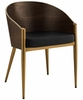 Cooper Gold Faux Leather/Wood Dining Armchair by Modway