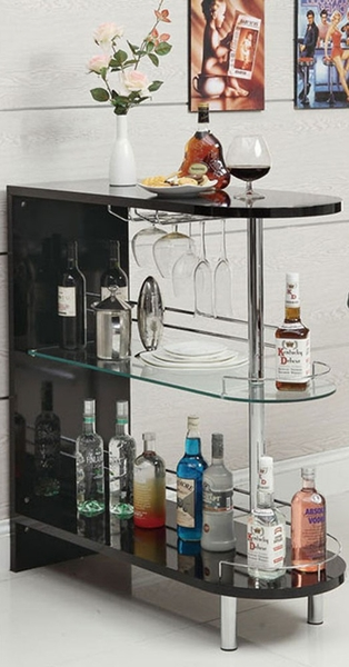 Petunia Glossy Black Wood Bar Table by Asia Direct