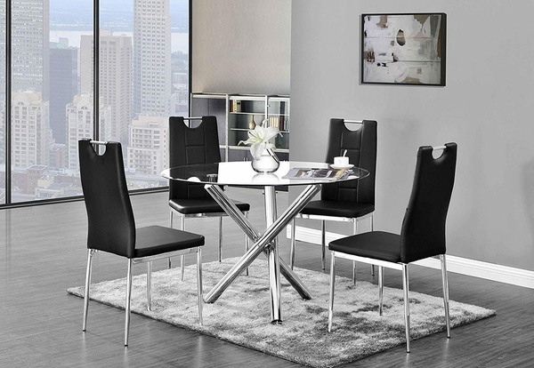 Crystal 2 Black Faux Leather Side Chairs by Best Master Furniture