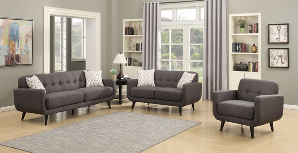 Crystal 3-Piece Charcoal Fabric Tufted Sofa Set by AC Pacific