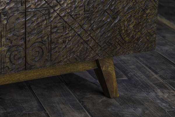 Calvary Gray Stone/Walnut Wood Console Table with Engraving by Acme