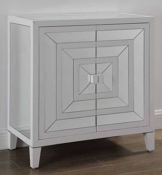 Terry White Mirrored 2 Door Cabinet by Best Master Furniture