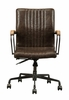 Joslin Distressed Chocolate Top Grain Leather Office Chair by Acme