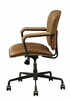 Josi Coffee Top Grain Leather Office Chair w/Wooden Armrest by Acme