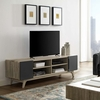 Tread Natural & Gray Wood TV Stand with 4 Open Shelves by Modway