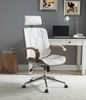 Yoselin White PU Leather/Walnut Wood Office Chair by Acme