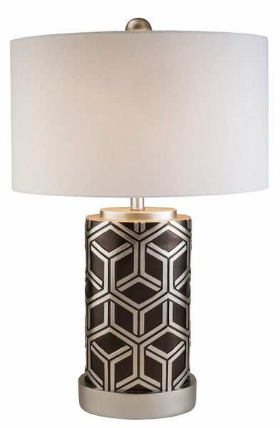 Nena Table Lamp w/Silver Geometrical Base by Furniture of America