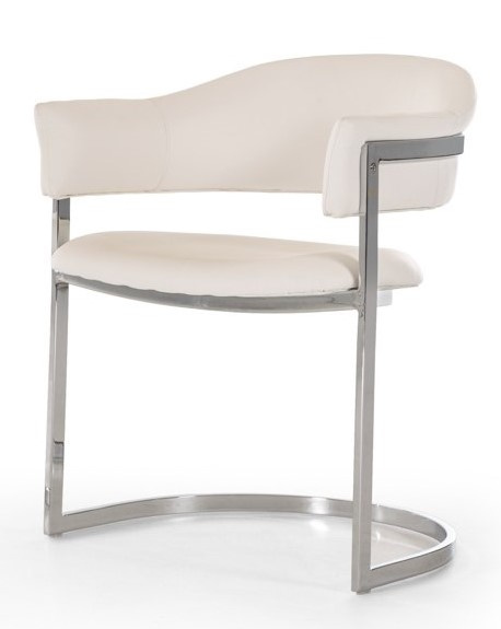 Modrest Allie White Leatherette/Metal Arm Chair by VIG Furniture