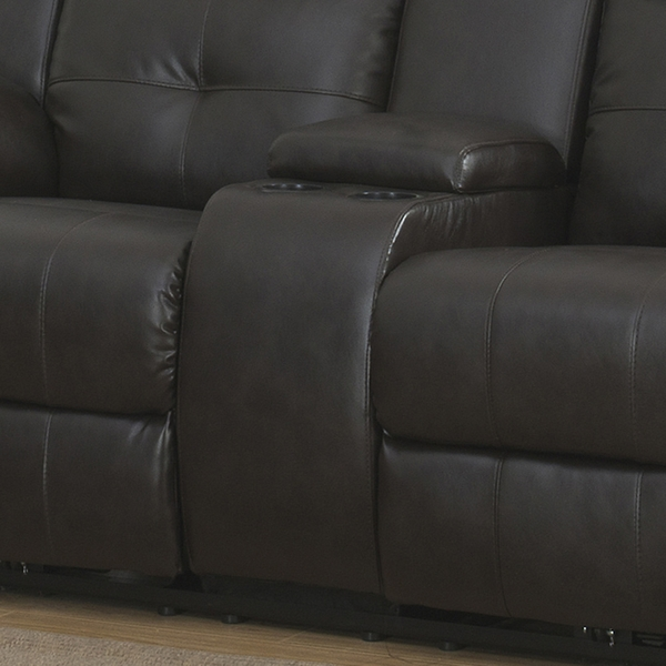 Troy Espresso Leather Power Recliner Loveseat w/Console by AC Pacific