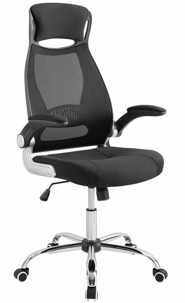 Expedite Black Fabric Highback Office Chair by Modway
